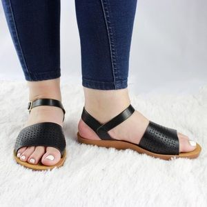 Shoes - Comfortable Sandals with Perforated Detail
